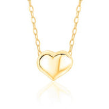 14K Yellow Gold Floating Puff Heart Pendant Necklace Polished Shiny on Cable Chain Italy 17.5""