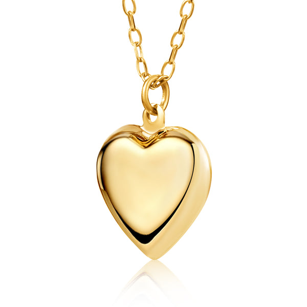 14K Yellow Gold Heart Pendant Necklace Charm Polished Shiny on Cable Chain Italy 17.5""