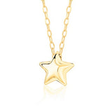 14K Yellow Gold Floating Puff Star Pendant Necklace Polished Shiny on Cable Chain Italy 17.5""