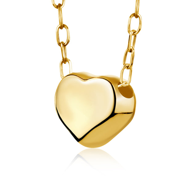 14K Yellow Gold Floating Heart Pendant Necklace Polished Shiny on Cable Chain Italy 17.5""