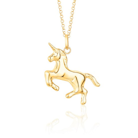 14K Yellow Gold Unicorn Pendant Necklace Polished Shiny on Rolo Chain Italy 16""