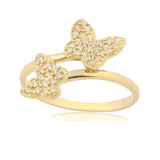 Gold Butterfly Ring UNICORNJ Childrens 14k Yellow Gold Cubic Zirconia Pave Double Butterfly Open Adjustable Ring