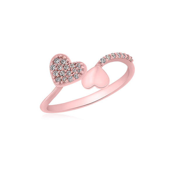UNICORNJ 14K Rose Gold Double Heart Pave CZ and Polished Bypass Ring Italy