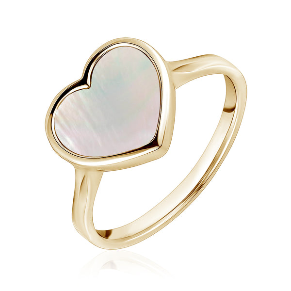 14K Yellow Gold Heart Ring Mother of Pearl for Girls and Women Italy
