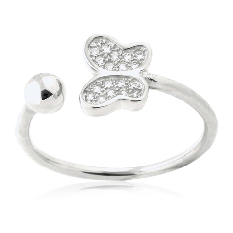 Silver Butterfly Ring Sterling Silver Butterfly Open Ring with Pavé Cubic Zirconia Adjustable