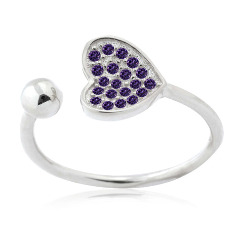 Silver Heart Ring Sterling Silver Heart Open Ring with Pavé Purple Cubic Zirconia Adjustable