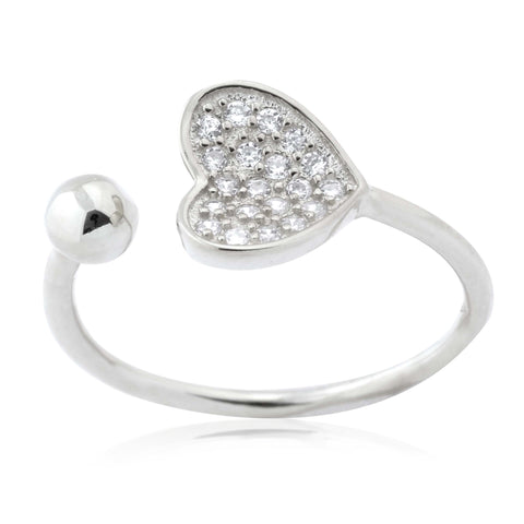 Silver Heart Ring Sterling Silver Heart Open Ring with Pavé Cubic Zirconia Adjustable
