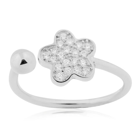 Silver Flower Ring Sterling Silver Flower Open Ring with Pavé Cubic Zirconia Adjustable