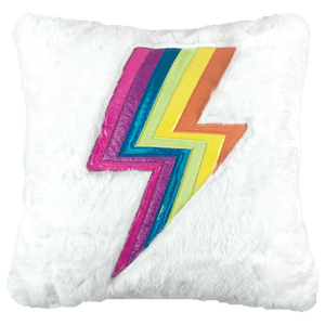 Lightning Bolt Holographic Furry Pillow