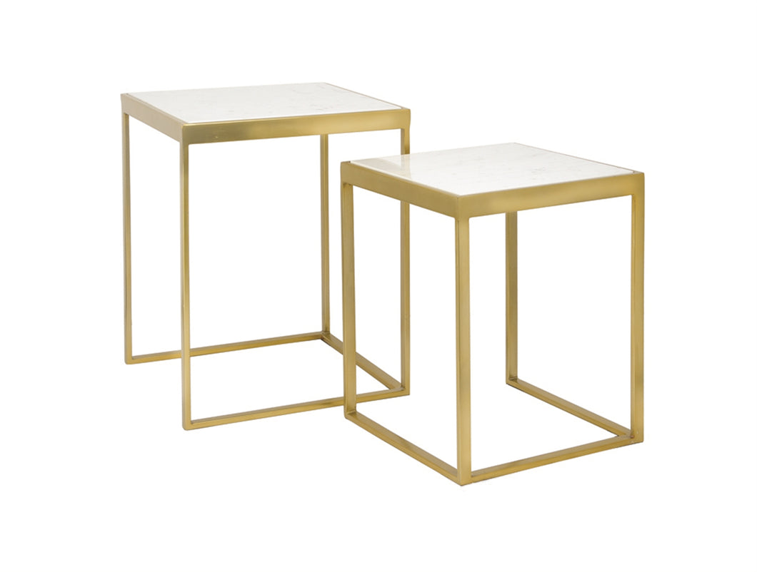 Marble & Brass End Tables - Set/2