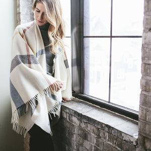 Plaid Throw Cape