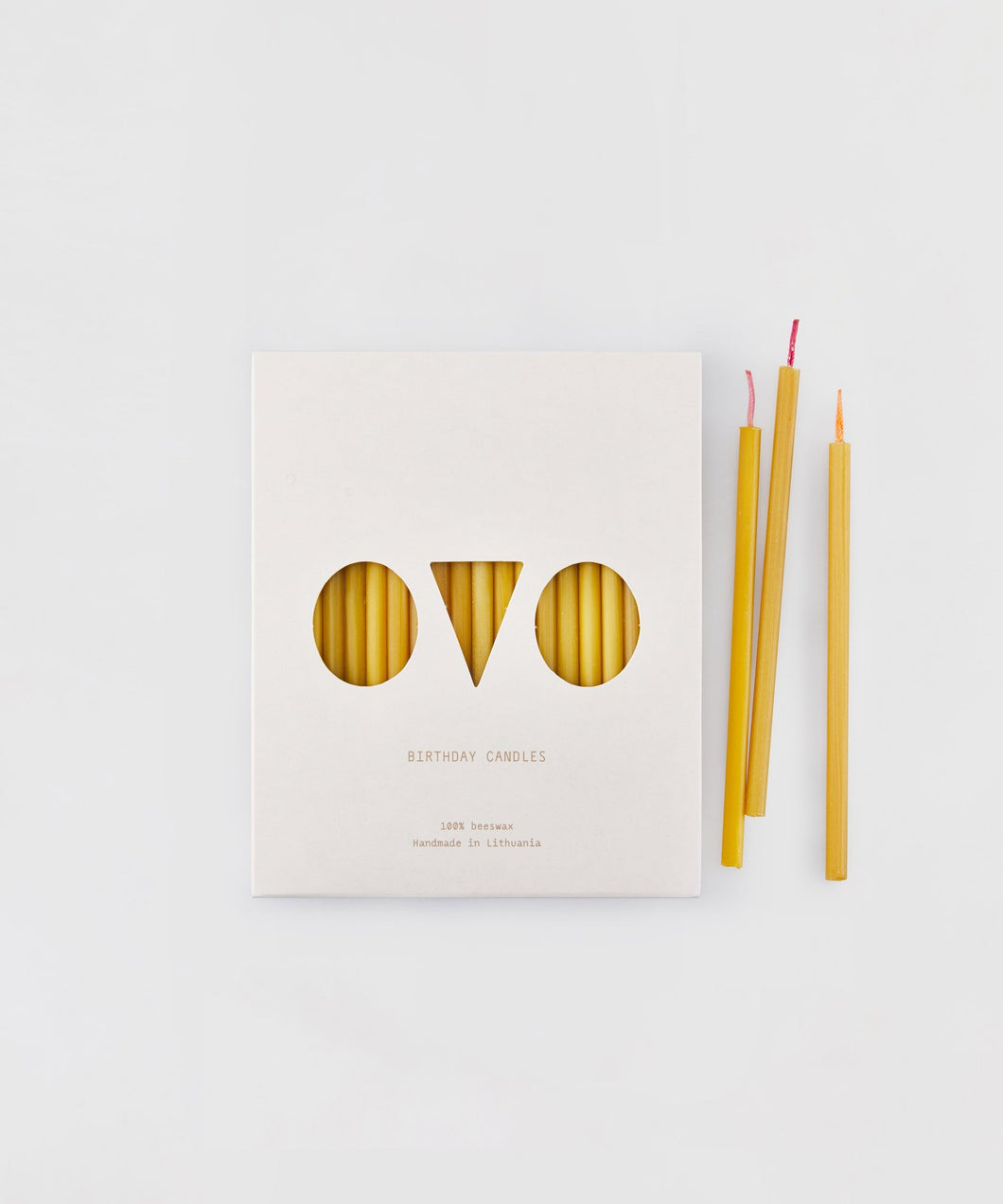 OVO Beeswax Birthday Candles - 20 Pack