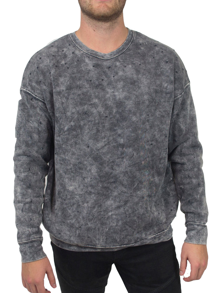 C401 Mineral wash crew neck sweatshirt with distressed holes