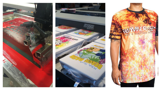 The difference between DTG, screen printing, and sublimation printing