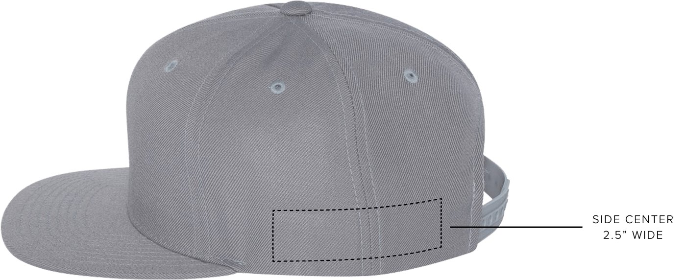 custom hat embroidery location, side