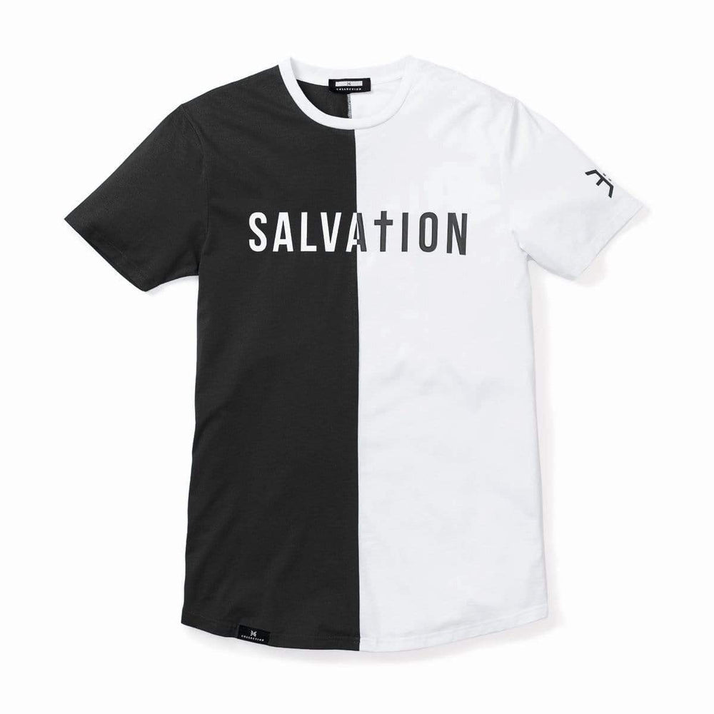 Salvation Vertical Block Swoop Tee - Black and White (Long Body)