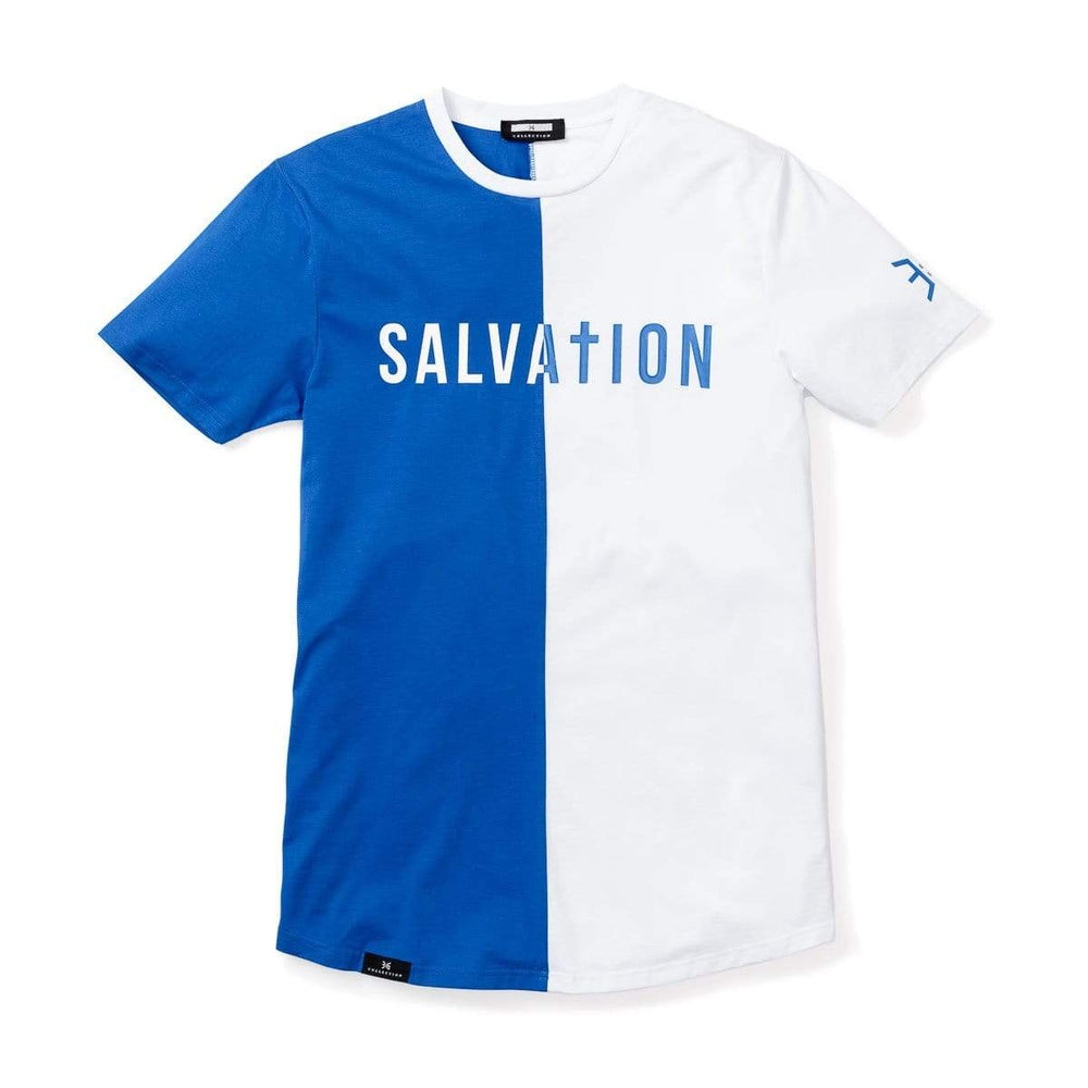 Salvation Vertical Block Swoop Tee - Royal and White (Long Body)