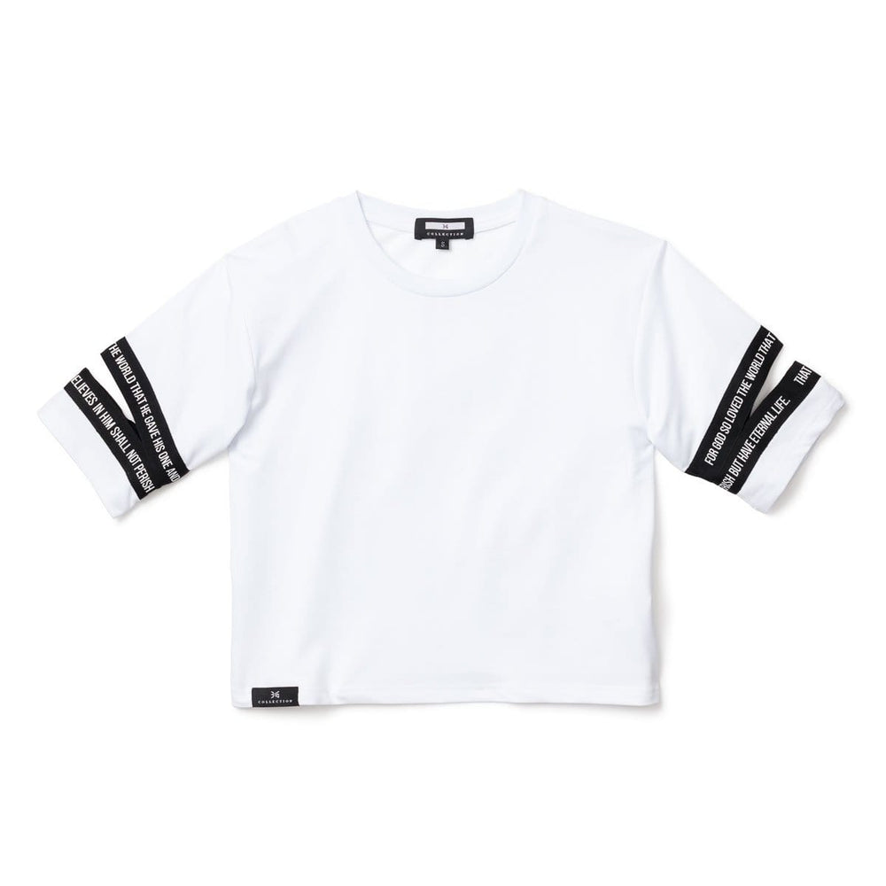 3:16 Cutout Crop Top, White