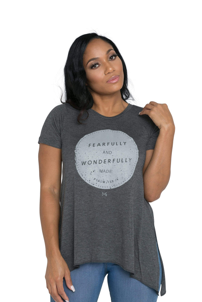 Wonderfully Made Ladies Short Sleeve Sharkbite Tee (Charcoal)