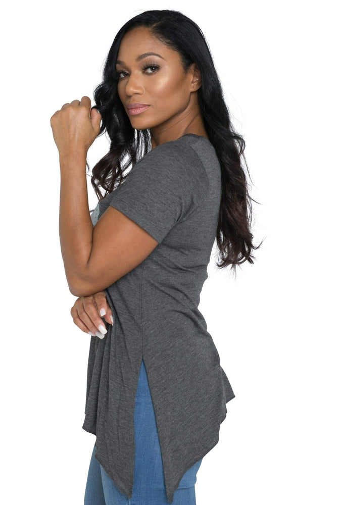 3:16 Collection Ladies Apparel Wonderfully Made Ladies Short Sleeve Sharkbite Tee (Charcoal)