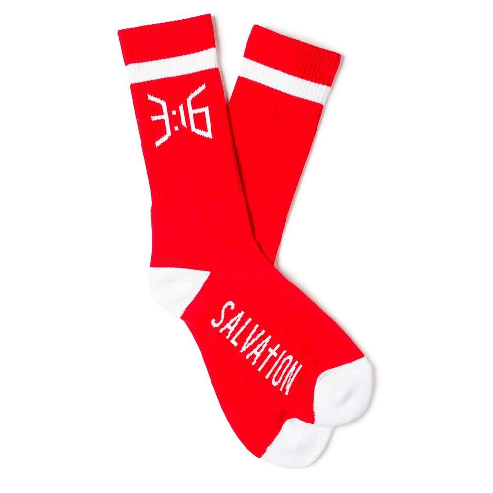 3:16 Collection Socks Salvation Casual Crew Sock - Red