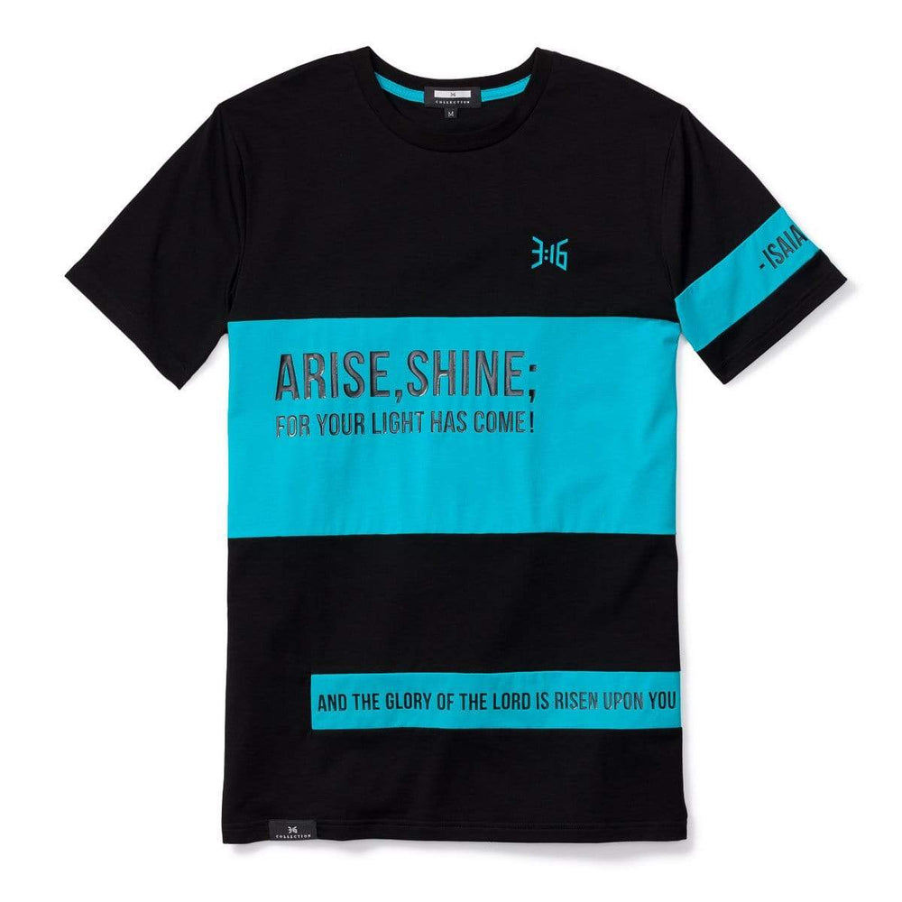 3:16 Collection T-Shirt XS Isaiah 60:1 Colorblock T-Shirt Black/Turquoise