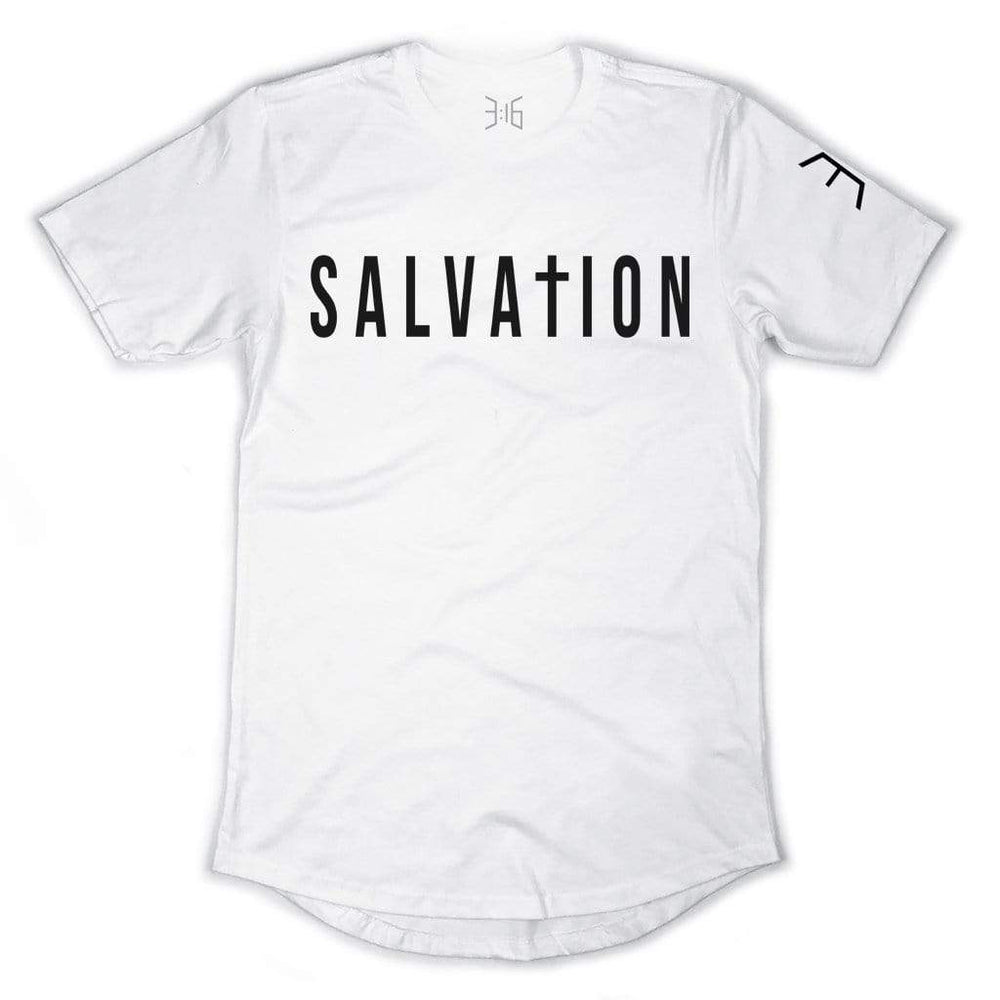 Salvation Scoop Tee - White (Long Body)