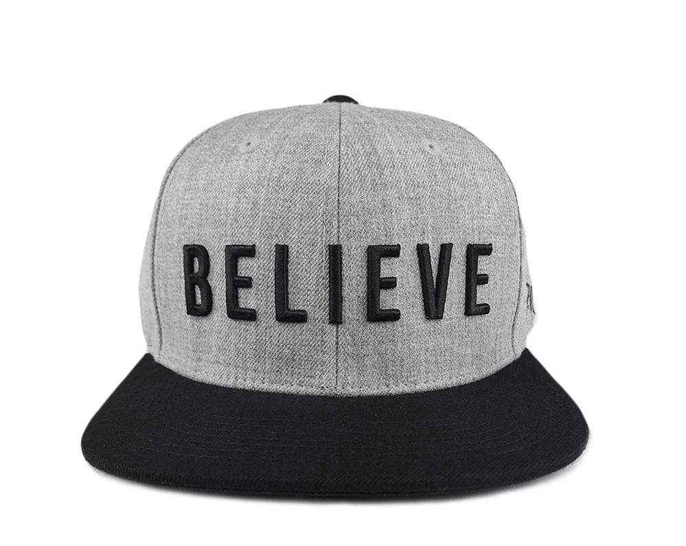 BELIEVE Snapback Hat - Gray