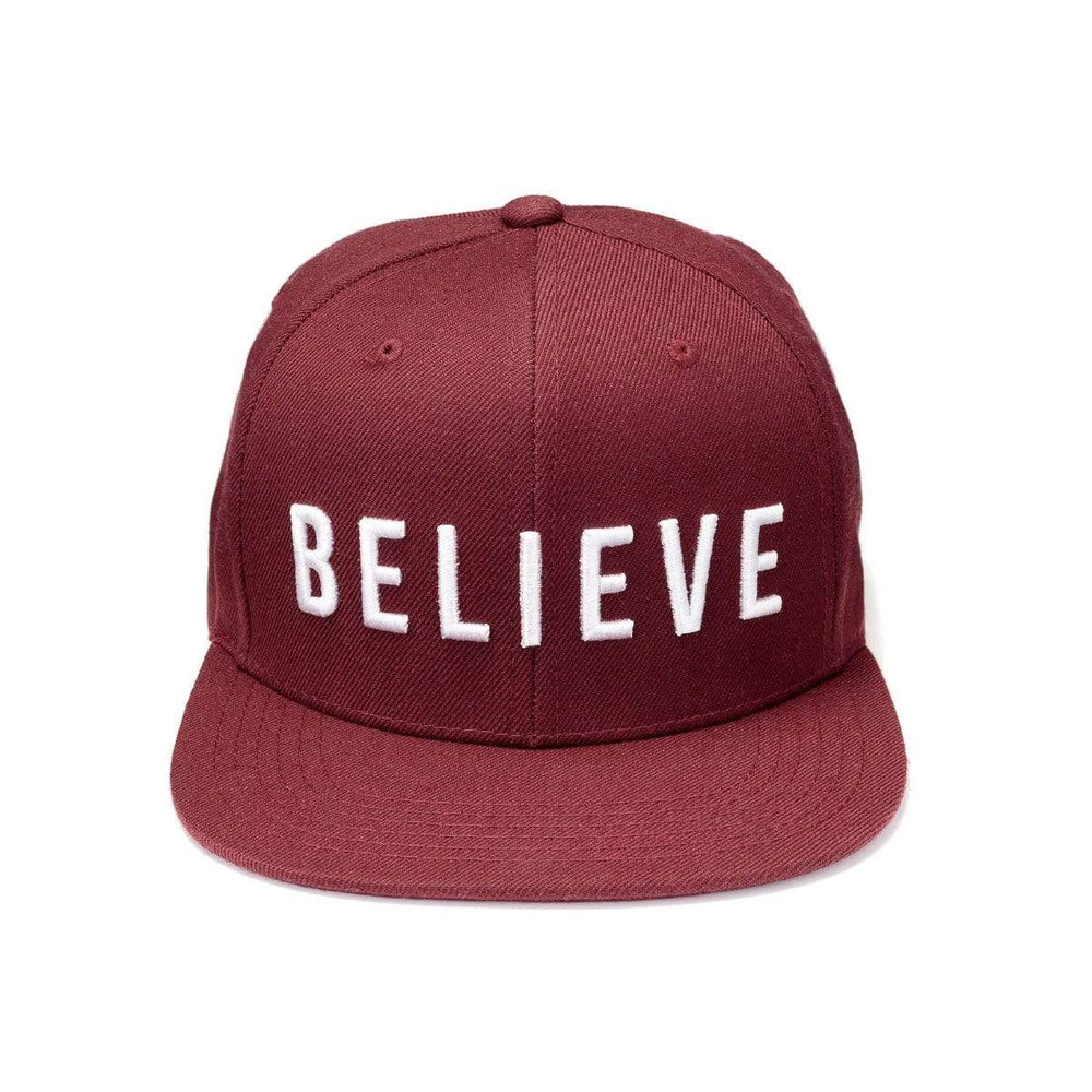 316collection Hat BELIEVE Snapback Hat - Maroon