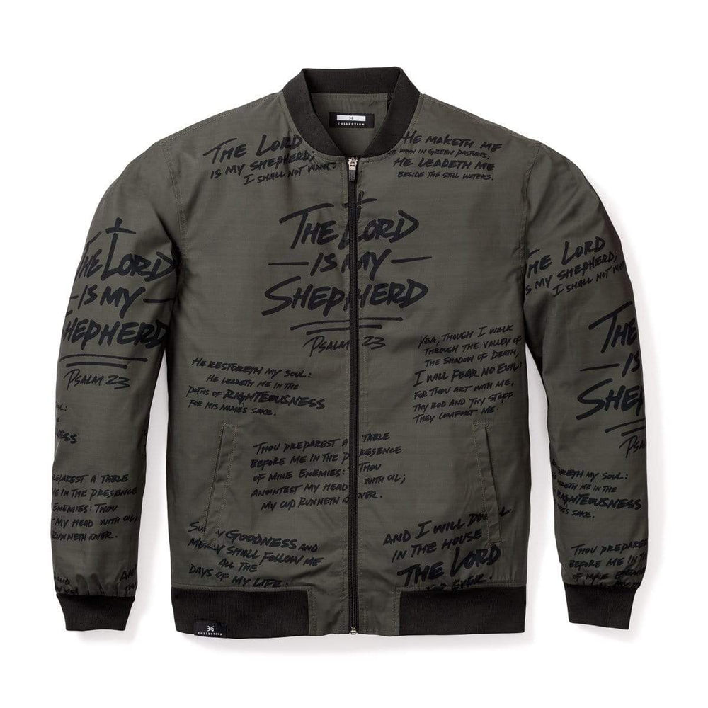 316collection JAcket Psalm 23 Premium Bomber Jacket - ARMY