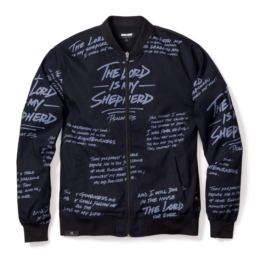 316collection JAcket Psalm 23 Premium Bomber Jacket - BLACK