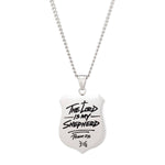 Psalm 23 - Pendant Necklace - Black/Silver