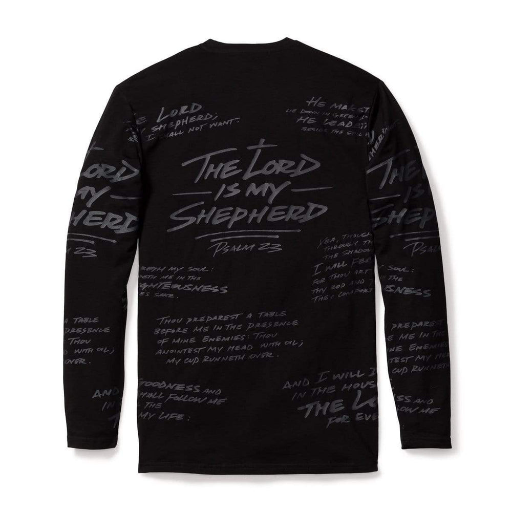 316collection T-Shirt PSALM 23 - ALL OVER PREMIUM TEE - LONG SLEEVE - BLACKOUT EDITION