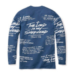 316collection T-Shirt PSALM 23 - ALL OVER PREMIUM TEE - LONG SLEEVE - SLATE BLUE