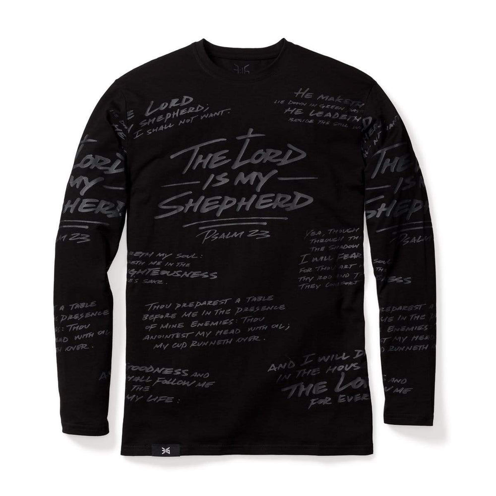 316collection T-Shirt XS PSALM 23 - ALL OVER PREMIUM TEE - LONG SLEEVE - BLACKOUT EDITION