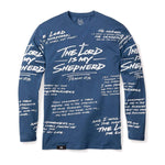 316collection T-Shirt XS PSALM 23 - ALL OVER PREMIUM TEE - LONG SLEEVE - SLATE BLUE
