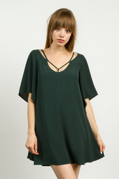 Short Bell Sleeves Flare Dress