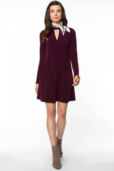 Long Sleeve Keyhole Opening Dress