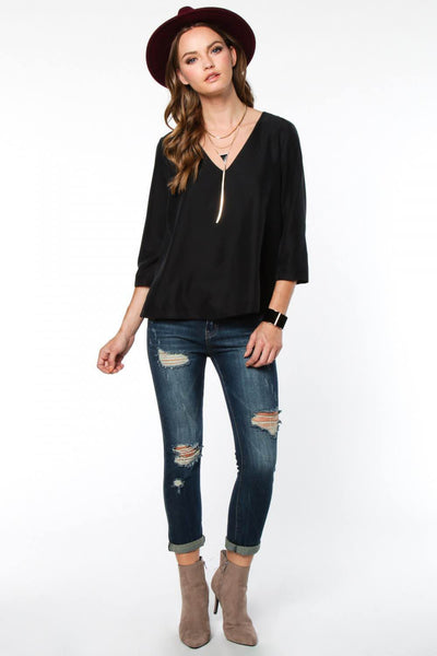 3/4 Length Sleeved V-neck