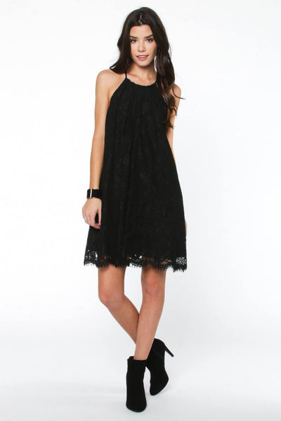 Lace Detailed Halter Shift Dress
