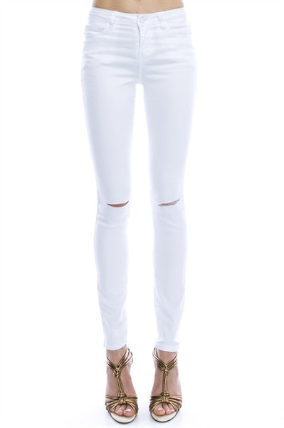 High Waisted Distressed White Denim