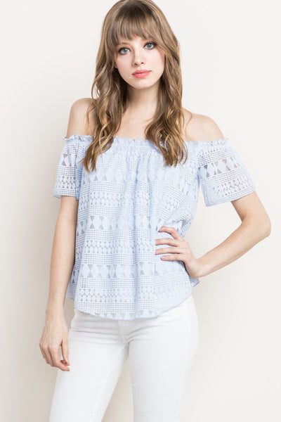 Chambray Lace Off The Shoulder Top
