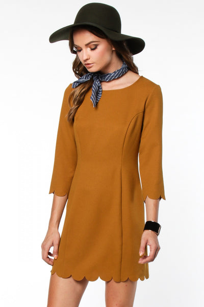 Shift Dress with Scalloped Trim