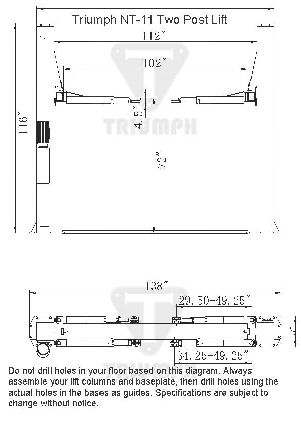 NT-11 11,000 lb Two Post Auto Lift on