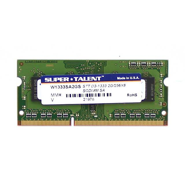 Super Talent DDR3-1333 SODIMM 2GB/256Mx8 Samsung Chip Notebook Memory