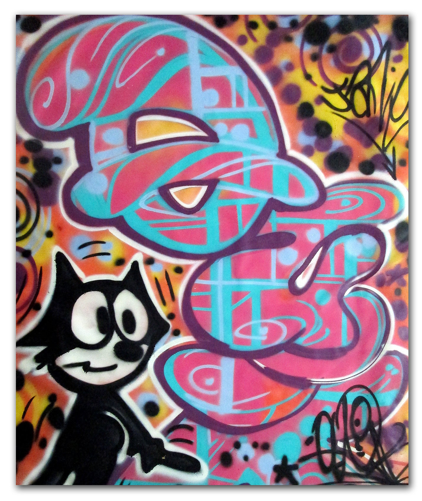 "QUIK ""Felix Loves Jamie "" Aerosol on Canvas"