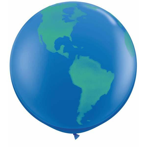 3ft Print - Globe Dark Blue
