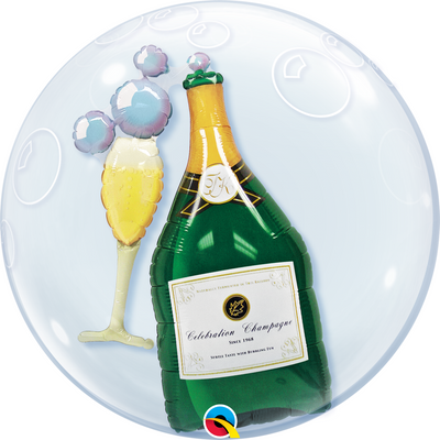 Double Bubble - Bubbly Wine Bottle & Glass