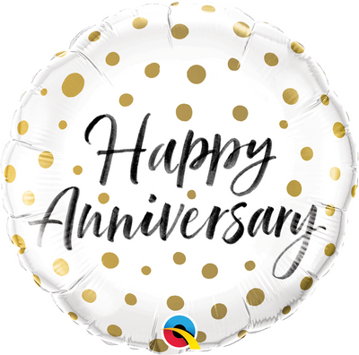 "18"" - Happy Anniversary Gold Dots"
