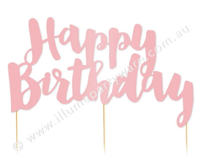 Cake Topper - Happy Birthday Pink